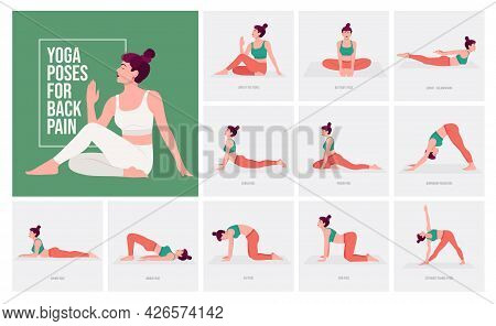 Yoga Poses For Back Pain. Young Woman Practicing Yoga Pose. Woman Workout Fitness, Aerobic And Exerc