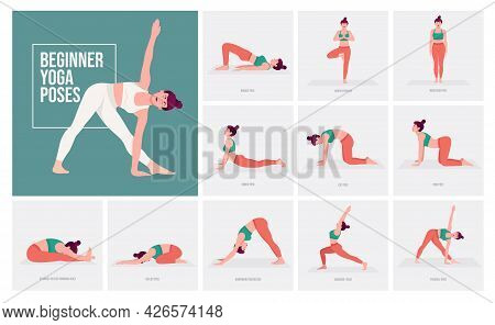 Beginner Yoga Poses . Young Woman Practicing Yoga Pose. Woman Workout Fitness, Aerobic And Exercises
