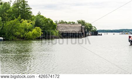 Marina And Boat Houses In Schwerin By The Lake Schweriner See