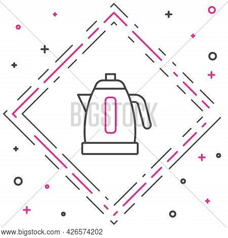 Line Electric Kettle Icon Isolated On White Background. Teapot Icon. Colorful Outline Concept. Vecto