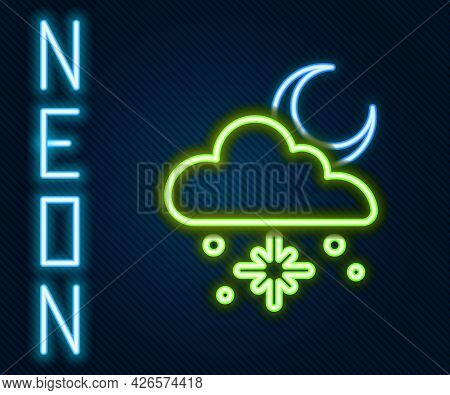 Glowing Neon Line Cloud With Snow And Sun Icon Isolated On Black Background. Cloud With Snowflakes.