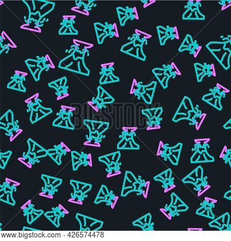 Line Volcano Eruption With Lava Icon Isolated Seamless Pattern On Black Background. Vector