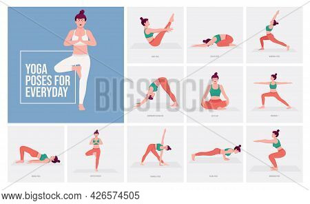 Yoga Poses For Everyday. Young Woman Practicing Yoga Pose. Woman Workout Fitness, Aerobic And Exerci
