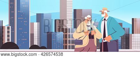 Senior Couple Standing Together Grandparents Spending Time Together Cityscape Background