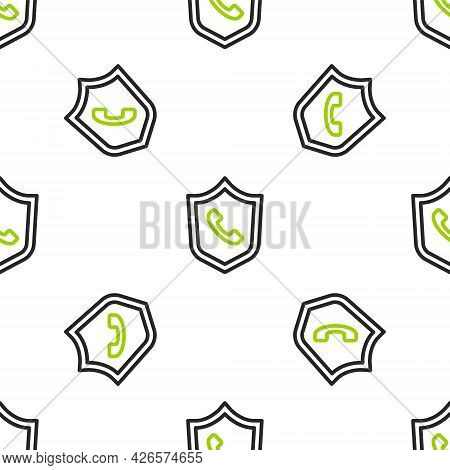 Line Telephone 24 Hours Support Icon Isolated Seamless Pattern On White Background. All-day Customer