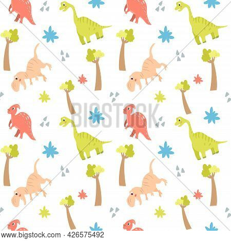 Seamless Pattern With Cute Dinosaurs And Trees On A White Background. Vector Endless Texture With Ca