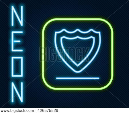 Glowing Neon Line Shield Icon Isolated On Black Background. Guard Sign. Security, Safety, Protection