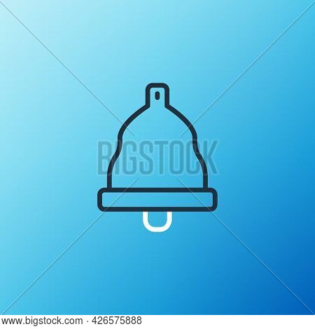Line Church Bell Icon Isolated On Blue Background. Alarm Symbol, Service Bell, Handbell Sign, Notifi