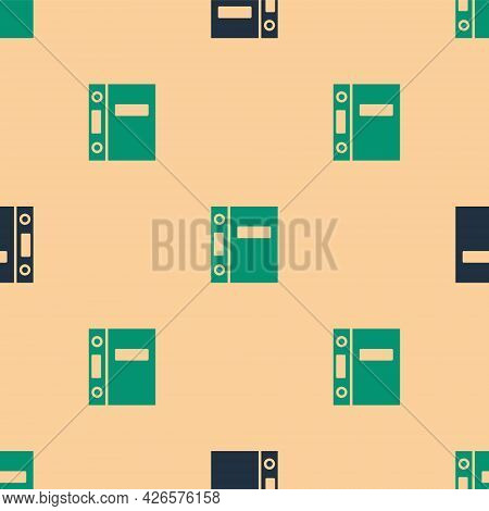 Green And Black Office Folders With Papers And Documents Icon Isolated Seamless Pattern On Beige Bac