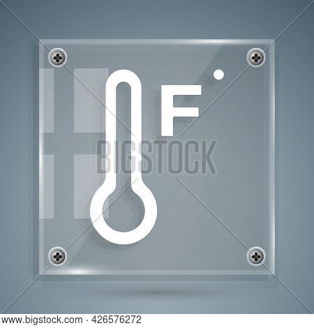 White Meteorology Thermometer Measuring Heat And Cold Icon Isolated On Grey Background. Temperature