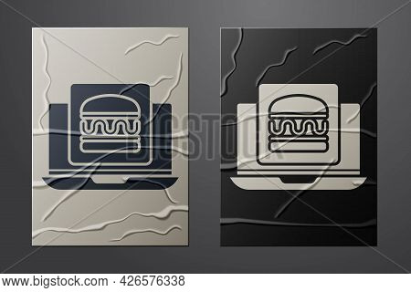 White Online Ordering And Burger Delivery Icon Isolated On Crumpled Paper Background. Paper Art Styl