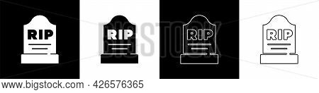 Set Tombstone With Rip Written On It Icon Isolated On Black And White Background. Grave Icon. Vector
