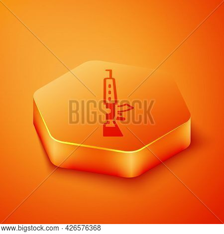 Isometric Sniper Rifle With Scope Icon Isolated On Orange Background. Orange Hexagon Button. Vector