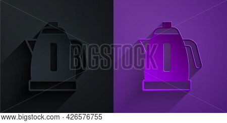 Paper Cut Electric Kettle Icon Isolated On Black On Purple Background. Teapot Icon. Paper Art Style.