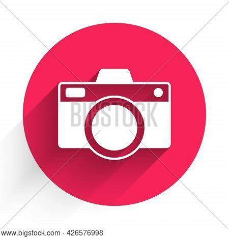 White Photo Camera Icon Isolated With Long Shadow. Foto Camera Icon. Red Circle Button. Vector
