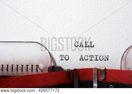 Call to action phrase written with a typewriter.