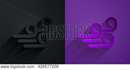 Paper Cut Windy Weather Icon Isolated On Black On Purple Background. Cloud And Wind. Paper Art Style