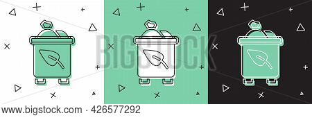 Set Recycle Bin With Recycle Symbol Icon Isolated On White And Green, Black Background. Trash Can Ic
