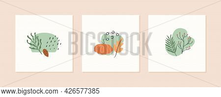Set Of Autumn Mood Abstract Square Card Templates With Pumpkin, Forest Branches, Berries And Geometr