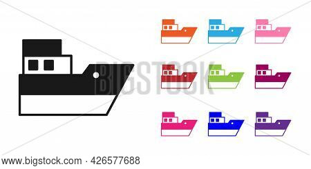 Black Ship Line Path Of Ship Sea Route With Start Point Gps And Black Line Icon Isolated On White Ba