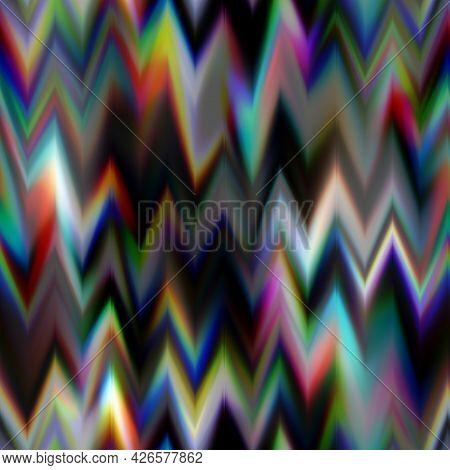 Blurred Solarized Ombre Chevron Seamless Texture. Trendy Soft Multicolor Digital Lens Flare Gradient