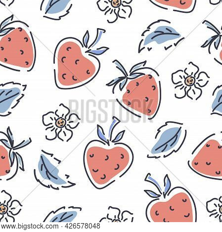 Strawberries, Flowers And Leaves On A White Background Seamless Pattern. Cute Pattern For Children C