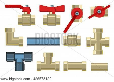 Set. Fittings, Taps, Bends And Fittings. Copper And Brass. Spare Parts For Pipelines, Sewerage, Gas