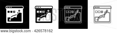 Set Histogram Graph Photography Icon Isolated On Black And White Background. Vector