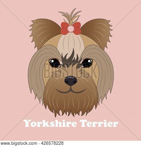 Yorkshire Terrier. Print With Dog With Background.
