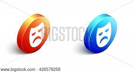 Isometric Drama Theatrical Mask Icon Isolated On White Background. Orange And Blue Circle Button. Ve