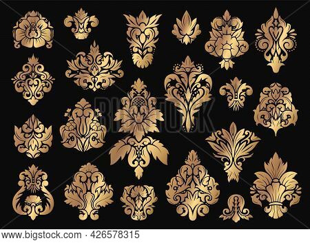 Damask Floral Ornament. Gold Vintage Ornaments With Flourish Elements. Old Fashioned Baroque Decorat