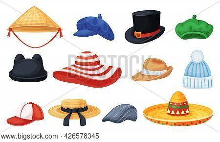Cartoon Hats. Cylinder, Panama, Baseball Cap, Beret, Sombrero. Man And Women Summer Stylish Headwear
