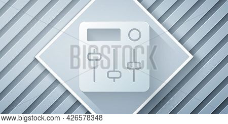 Paper Cut Sound Mixer Controller Icon Isolated On Grey Background. Dj Equipment Slider Buttons. Mixi