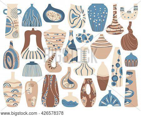 Ceramic Vases. Handmade Porcelain Vase, Clay Pots With Abstract Decor. Contemporary Ceramics, Modern