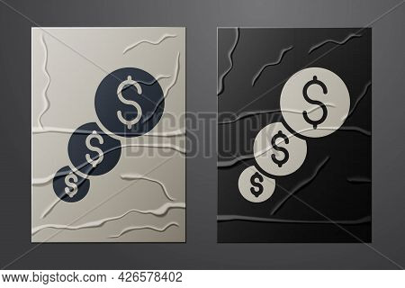 White Financial Growth And Dollar Coin Icon Isolated On Crumpled Paper Background. Increasing Revenu