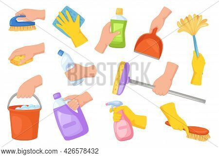 Cleaning Tools In Hands. Hand Holding Housekeeping Equipment, Broom, Duster, Detergent, Scoop. Carto