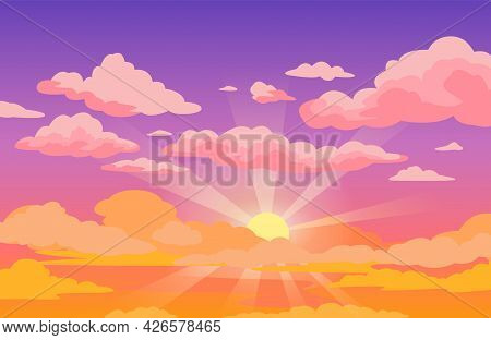 Sunset Sky With Clouds. Beautiful Purple To Yellow Sky Anime Background With Sunrays And Pink Fluffy
