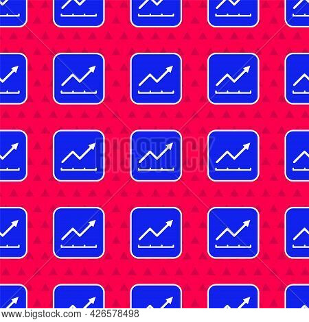 Blue Financial Growth Increase Icon Isolated Seamless Pattern On Red Background. Increasing Revenue.