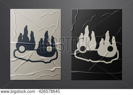 White Burning Car Icon Isolated On Crumpled Paper Background. Car On Fire. Broken Auto Covered With