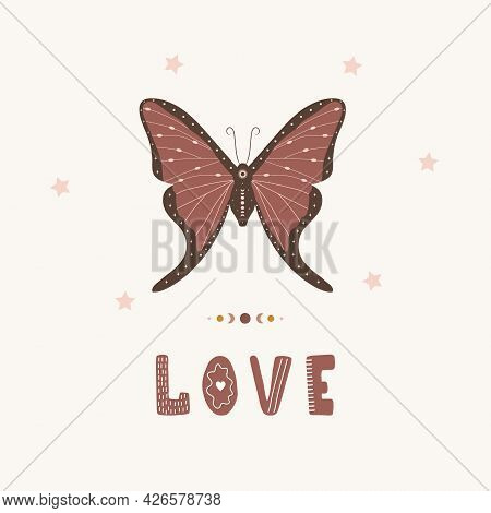 Butterfly Boho Poster. Insect With Celestial Elements. Scandinavian Design For Children Wallpaper An