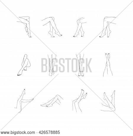Female Legs Collection. Hand Drawn Linear Woman Feet In Different Poses. Vector Illustration Of Eleg
