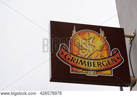 Bordeaux , Aquitaine France  - 07 04 2021 : Grimbergen Belgian Abbey Beers Sign Text And Logo On Wal