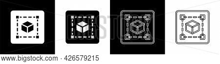 Set Geometric Figure Cube Icon Isolated On Black And White Background. Abstract Shape. Geometric Orn