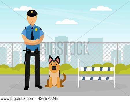 Man Police Officer Or Policeman With Truncheon And Tracker Dog Vector Illustration