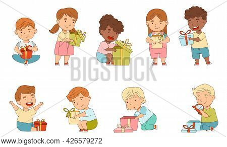 Excited Little Children Opening Gift Box Rejoicing At Present Vector Set