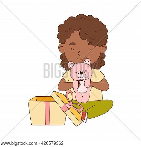 Little African American Girl Opening Gift Box With Teddy Bear Rejoicing At Present Vector Illustrati