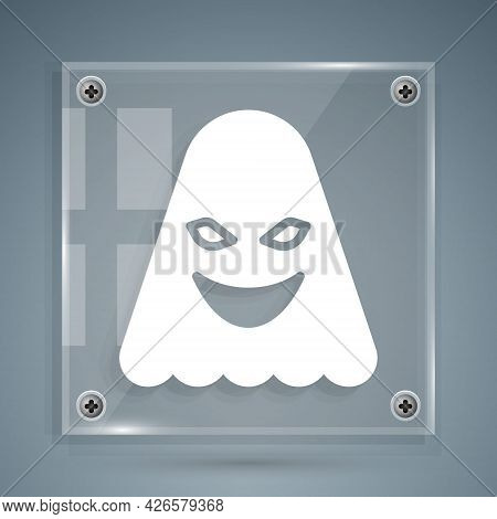 White Ghost Icon Isolated On Grey Background. Square Glass Panels. Vector