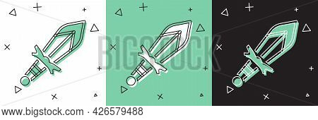 Set Medieval Sword Icon Isolated On White And Green, Black Background. Medieval Weapon. Vector