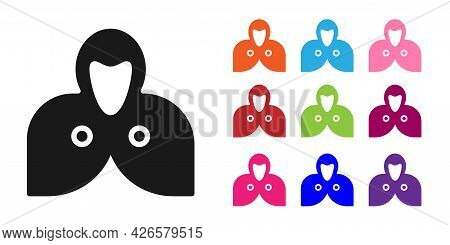 Black Mantle, Cloak, Cape Icon Isolated On White Background. Magic Cloak Of Mage, Wizard And Witch F