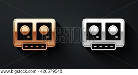 Gold And Silver Dj Remote For Playing And Mixing Music Icon Isolated On Black Background. Dj Mixer C